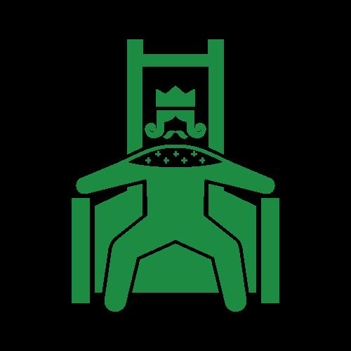 玉座につく王様