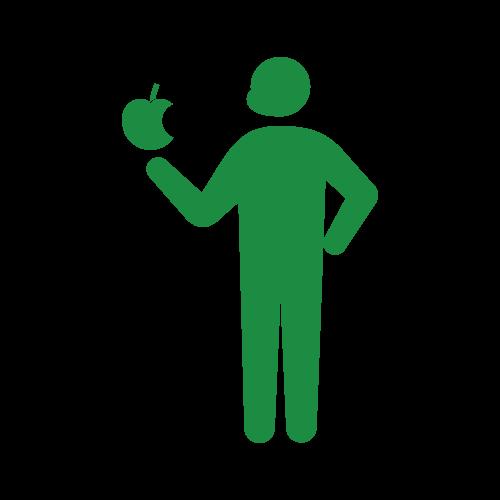 リンゴを食べる人